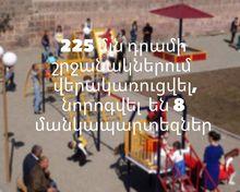 225 մլն դրամի շրջանակներում վերակռուցվել, նորոգվել են 8 մանկապարտեզներ